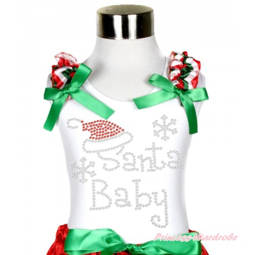 Xmas White Tank Top Red White Green Chevron Ruffles Kelly Green Bow & Sparkle Bling Rhinestone Santa Baby Print TB937