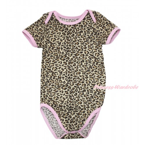 Plain Style Light Pink Piping Leopard Baby Jumpsuit TH530