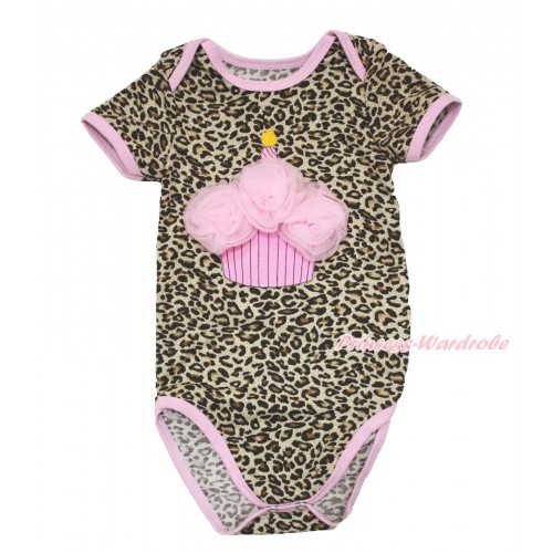Light Pink Piping Leopard Baby Jumpsuit & Light Pink Rosettes Birthday Cake TH532