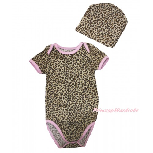 Plain Style Light Pink Piping Leopard Baby Jumpsuit & Cap Set TH533