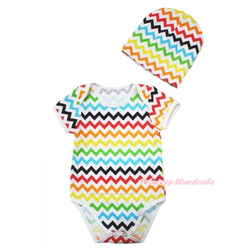 Xmas Plain Style Rainbow Chevron Baby Jumpsuit & Cap Set TH534