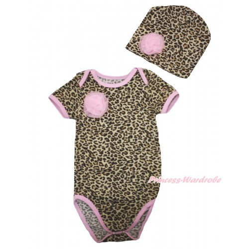 Light Pink Piping Leopard Baby Jumpsuit & One Light Pink Rose & Cap Set TH535