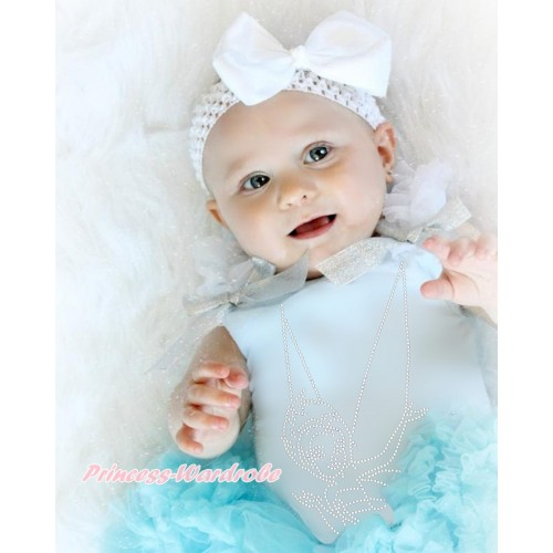 Light Blue Tank Top White Ruffles Sparkle Silver Grey Bow & Sparkle Bling Rhinestone Periwinkle Print TM279