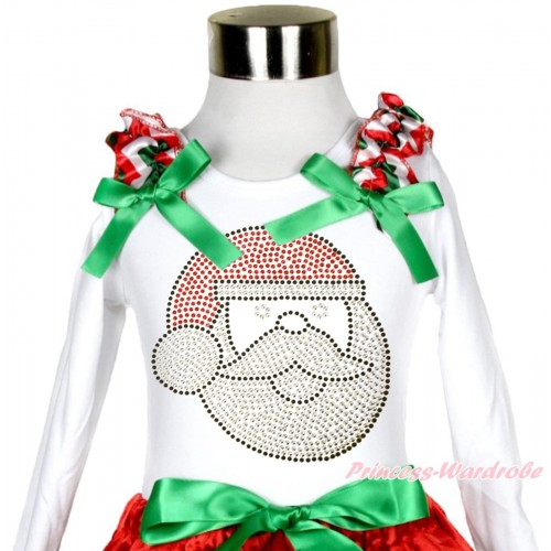 Xmas White Long Sleeves Top Red White Green Chevron Ruffles Kelly Green Bow & Sparkle Rhinestone Santa Claus TW501