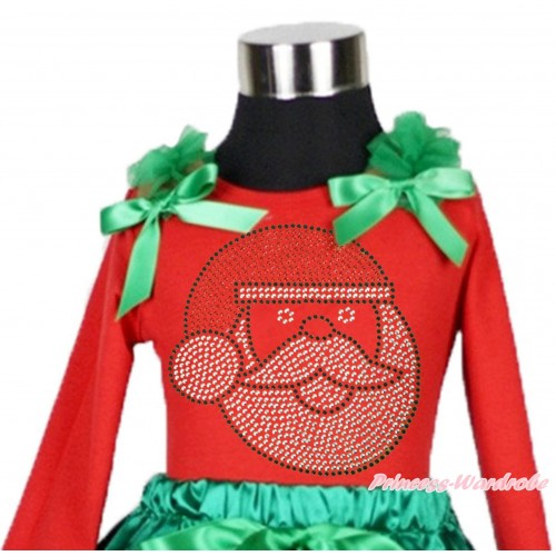 Xmas Red Long Sleeves Top Kelly Green Ruffles & Bow & Sparkle Rhinestone Santa Claus TW504