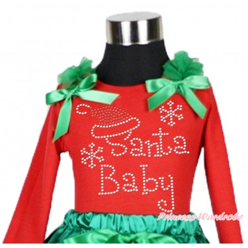 Xmas Red Long Sleeves Top Kelly Green Ruffles & Bow & Sparkle Rhinestone Santa Baby TW505