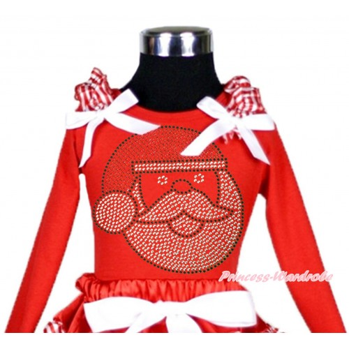 Xmas Red Long Sleeves Top Red White Striped Ruffles White Bow & Sparkle Rhinestone Santa Claus TW506