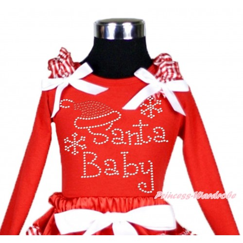 Xmas Red Long Sleeves Top Red White Striped Ruffles White Bow & Sparkle Rhinestone Santa Baby TW507