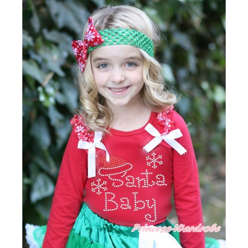 Xmas Red Long Sleeves Top Red Snowflakes Ruffles White Bow & Sparkle Rhinestone Santa Baby TW508