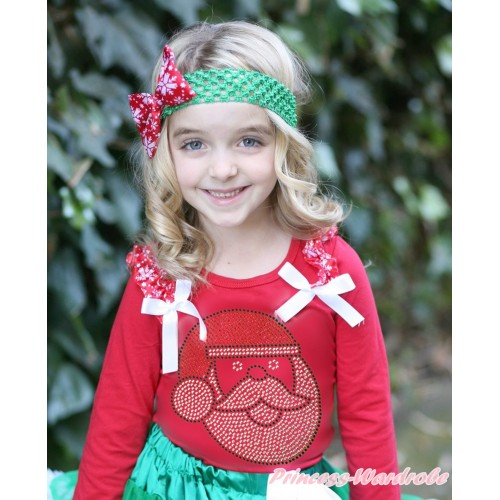 Xmas Red Long Sleeves Top Red Snowflakes Ruffles White Bow & Sparkle Rhinestone Santa Claus TW509