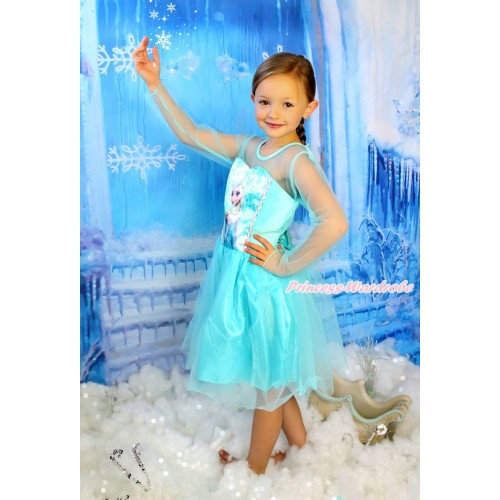 Frozen Elsa Light Blue Long Sleeve Dress Dress Up Party Costume C002