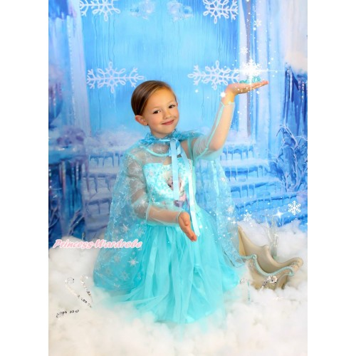 Frozen Elsa Light Blue Long Sleeve Dress With Sparkle Snowflakes Light Blue Organza Cape Costume C002-1