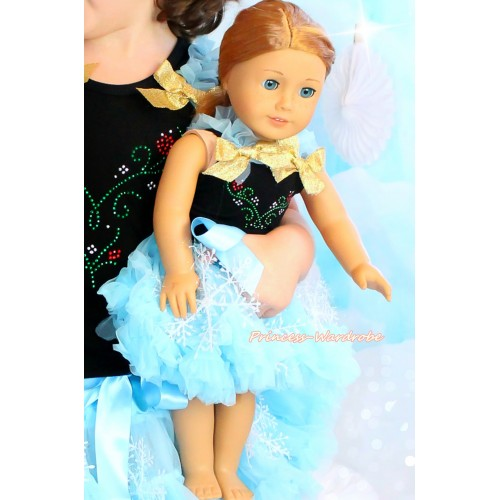 Frozen Black Tank Top Light Blue Ruffles Sparkle Gold Bows & Sparkle Rhinestone Princess Anna & Light Blue Snowflakes Pettiskirt American Girl Doll Outfit DO058
