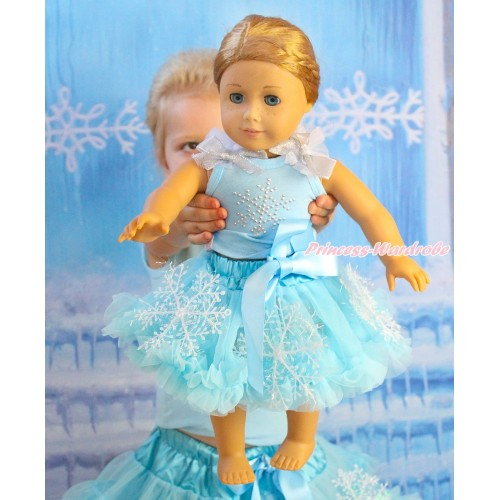 Frozen Light Blue Tank Top White Ruffles Sparkle Silver Grey Bows & Sparkle Rhinestone Snowflakes & Light Blue Snowflakes Pettiskirt American Girl Doll Outfit DO059