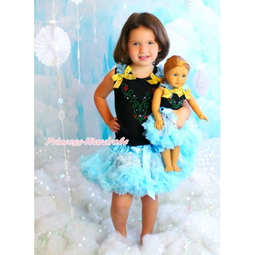 Frozen Black Tank Top Light Blue Ruffles Sparkle Glod Bows & Rhinestone Princess Anna & Light Blue Snowflakes Girl Pettiskirt Matching American Girl Doll Outfit Set DO061