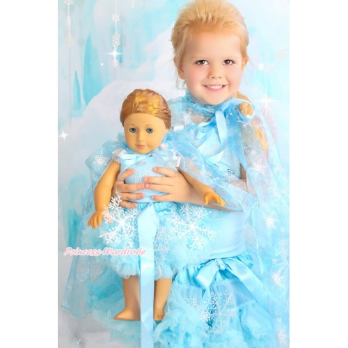 Frozen Light Blue Tank Top White Ruffles Sparkle Silver Grey Bows & Rhinestone Princess Elsa & Light Blue Snowflakes Girl Pettiskirt & Snowflakes Organza Cape Matching American Girl Doll Outfit Set DO063