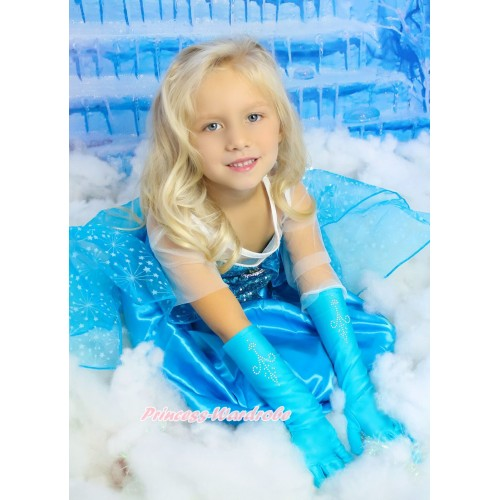 Frozen Elsa Blue Sparkle Bling Crystal Long Sleeve Dress & Rhinestone Embroidery Light Blue Elbow Length Gloves Dress Up Party Costume C003-2