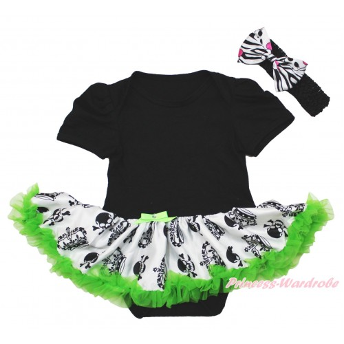 Halloween Black Baby Bodysuit Crown Skeleton Pettiskirt & Black Headband Zebra Skeleton Satin Bow JS3960