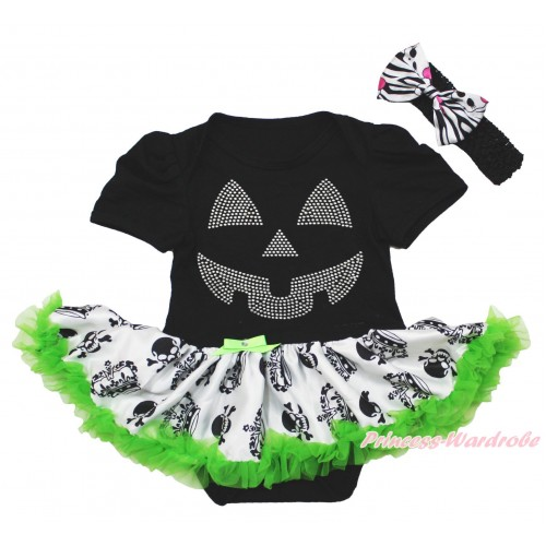 Halloween Black Baby Bodysuit Crown Skeleton Pettiskirt & Sparkle Rhinestone Pumpkin Face & Black Headband Zebra Skeleton Satin Bow JS3964