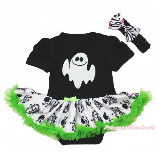 Halloween Black Baby Bodysuit Crown Skeleton Pettiskirt & White Ghost & Black Headband Zebra Skeleton Satin Bow JS3965
