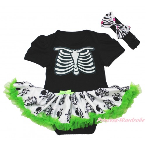 Halloween Black Baby Bodysuit Crown Skeleton Pettiskirt & Skeleton Rib & Black Headband Zebra Skeleton Satin Bow JS3966