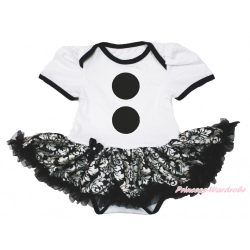 Frozen White Baby Bodysuit Damask Pettiskirt & Olaf Button Print JS4196