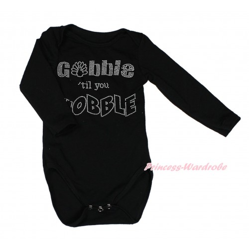 Thanksgiving Black Long Sleeve Baby Jumpsuit & Sparkle Rhinestone Gobble Till You Wobble Print LS234