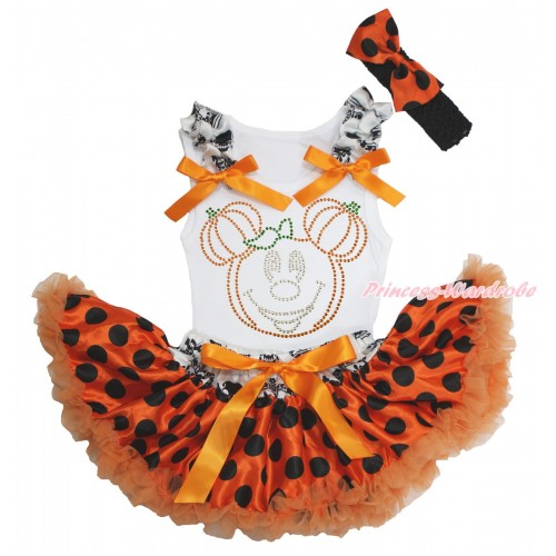 Halloween White Baby Pettitop Crown Skeleton Ruffles Orange Bows & Rhinestone Pumpkin Minnie & Crown Skeleton Waist Orange Black Dots Newborn Pettiskirt & Black Headband Orange Black Dots Satin Bow NG1577