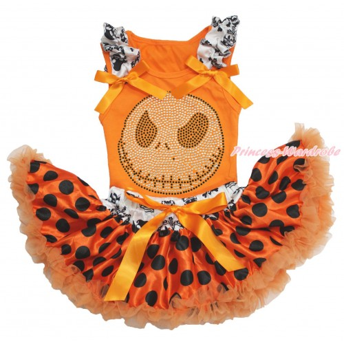 Halloween Orange Baby Pettitop Crown Skeleton Ruffles Orange Bows & Sparkle Rhinestone Nightmare Before Christmas Jack & Crown Skeleton Waist Orange Black Dots Newborn Pettiskirt NO19
