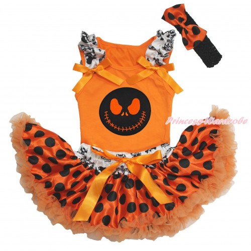 Halloween Orange Baby Pettitop Crown Skeleton Ruffles Orange Bows & Nightmare Before Christmas Jack & Crown Skeleton Waist Orange Black Dots Newborn Pettiskirt & Black Headband Orange Black Dots Satin Bow NO21