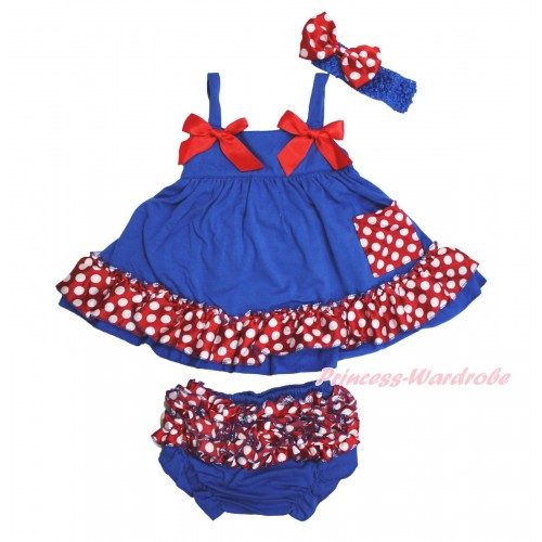 Royal Blue Minnie Dots Swing Top & Hot Red Bow & Panties Bloomers & Royal Blue Headband Minnie Dots Satin Bow SP24