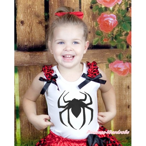 Halloween White Tank Top Beetle Red Black Dots Ruffles Black Bow & Spider Print TB928