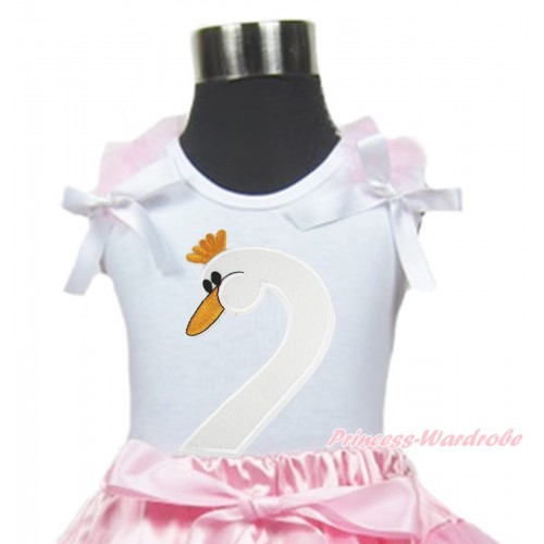 Easter White Tank Top Light Pink Ruffles White Bow & Swan Print TB982
