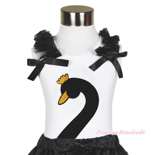 Easter White Tank Top Black Ruffles & Bow & Black Swan Print TB986