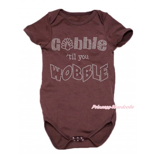 Thanksgiving Brown Baby Jumpsuit & Rhinestone Gobble Till You Wobble Print TH538