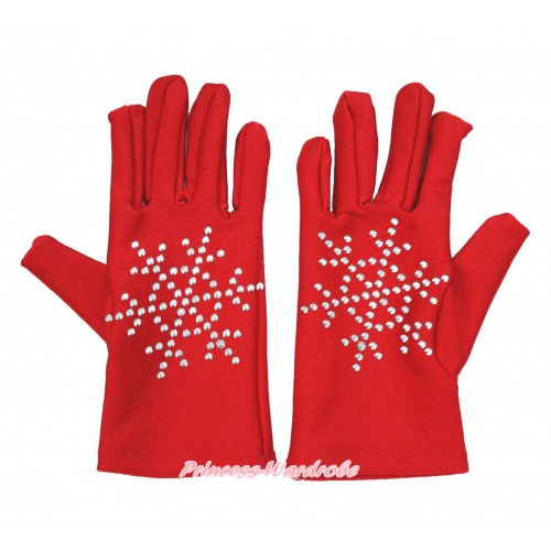 Xmas Hot Red Sparkle Crystal Bling Rhinestone Snowflakes Gloves C324