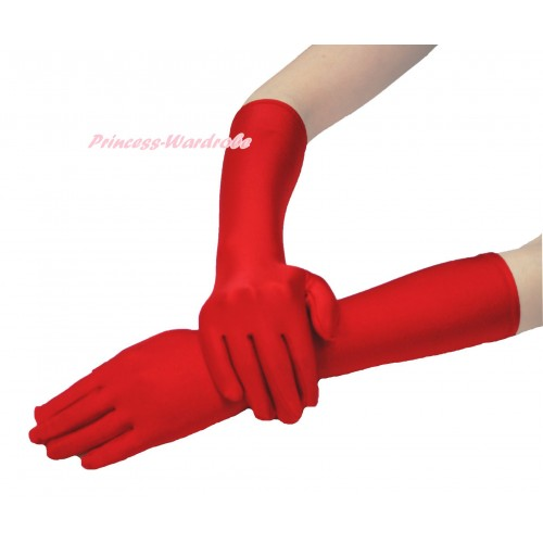 Xmas Hot Red Elbow Length Gloves C325