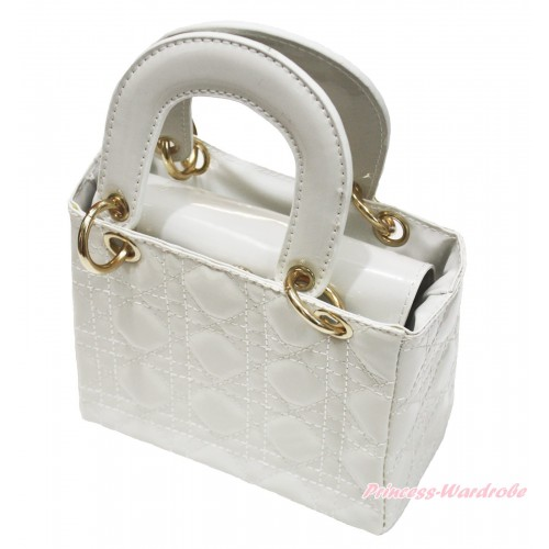 Lovely Ring Square White Checked Cute Handbag Petti Bag Purse CB173