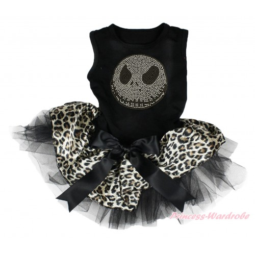 Halloween Black Sleeveless Leopard Black Gauze Skirt & Sparkle Rhinestone Nightmare Before Christmas Jack & Black Bow Pet Dress DC186
