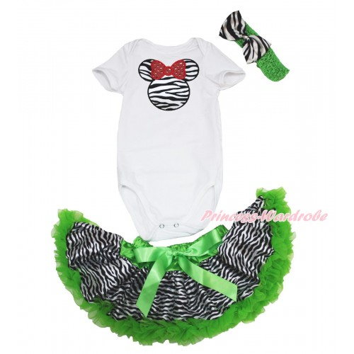 White Baby Jumpsuit & Zebra Minnie & Dark Green Zebra Newborn Pettiskirt & Dark Green Headband Zebra Satin Bow JN38