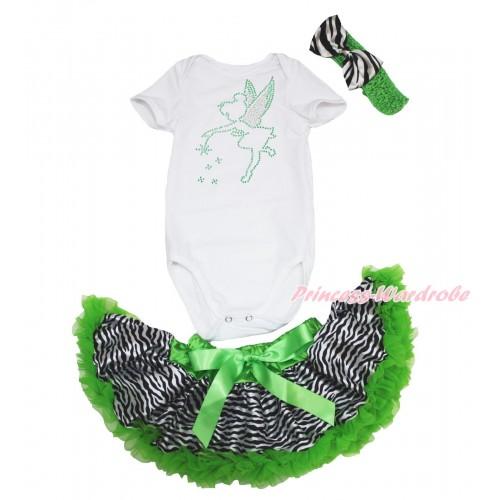 White Baby Jumpsuit & Sparkle Rhinestone Tinker Bell & Dark Green Zebra Newborn Pettiskirt & Dark Green Headband Zebra Satin Bow JN39