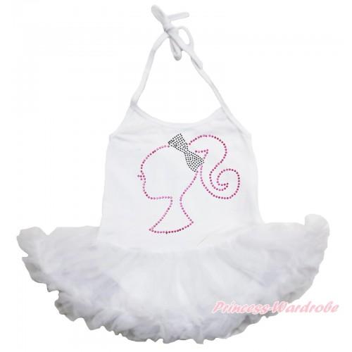 White Baby Halter Jumpsuit Pettiskirt & Sparkle Rhinestone Barbie Princess JS3932