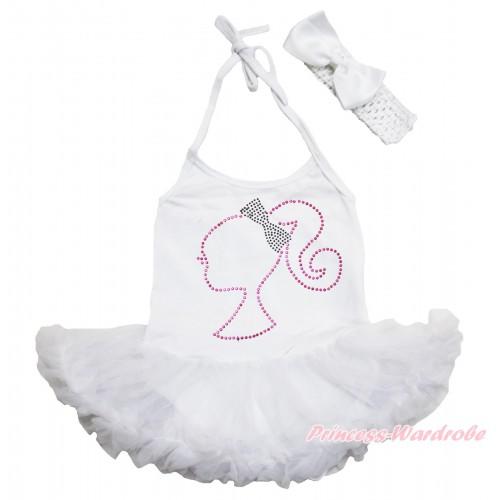 White Baby Halter Jumpsuit Pettiskirt & Sparkle Rhinestone Barbie Princess & White Headband Silk Bow JS3940