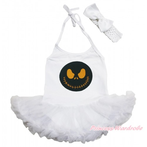 Halloween White Baby Halter Jumpsuit Pettiskirt & Nightmare Before Christmas Jack & White Headband Silk Bow JS3942
