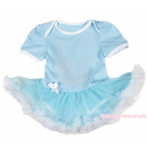Light Blue Baby Bodysuit Light Blue White Pettiskirt & Sparkle Rhinestone Periwinkle JS3943