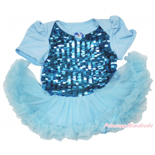 Frozen Elsa Heart Blue Sparkle Sequins Baby Bodysuit Light Blue Pettiskirt JS3944