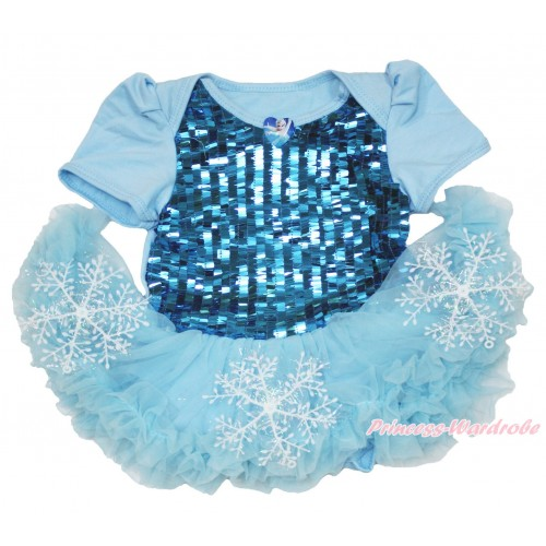 Frozen Elsa Heart Blue Sparkle Sequins Baby Bodysuit Snowflakes Light Blue Pettiskirt JS3945