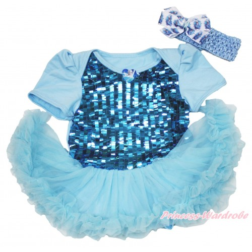 Frozen Elsa Heart Blue Sparkle Sequins Baby Bodysuit Light Blue Pettiskirt & Light Blue Headband Elsa Silk Bow JS3947