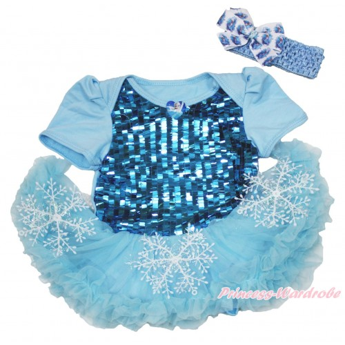 Frozen Elsa Heart Blue Sparkle Sequins Baby Bodysuit Snowflakes Light Blue Pettiskirt & Light Blue Headband Elsa Silk Bow JS3948