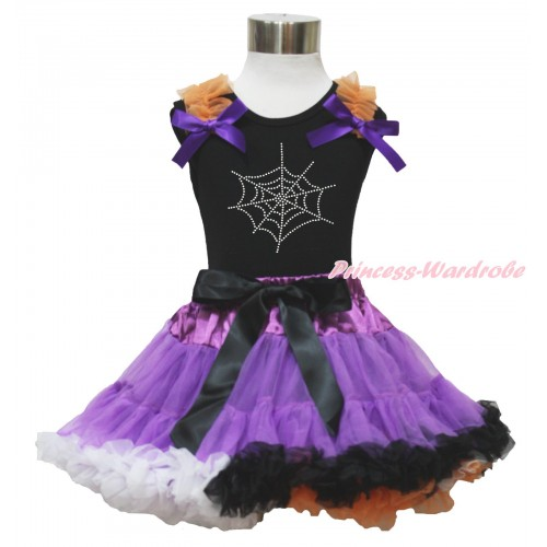 Halloween Black Tank Top Orange Ruffles Dark Purple Bows & Sparkle Rhinestone Spider Web & Dark Purple Rainbow Pettiskirt MG1333